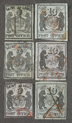 United States: Postmasters Provisional St Louis 1845-46 5 cents three copies, 10 cents three copies, all used in a renconstruction of the plate.